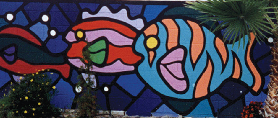 Outside Stained Glass Fish Mural